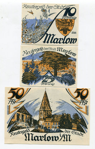 MARLOW, Stadt, 10, 25, 50 Pf o. Dat. - 31.5.1922