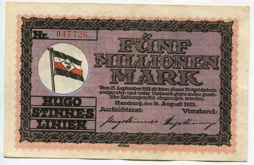 HAMBURG, Hugo-Stinnes-Linien:  5 Mio. Mark 18.4.1923