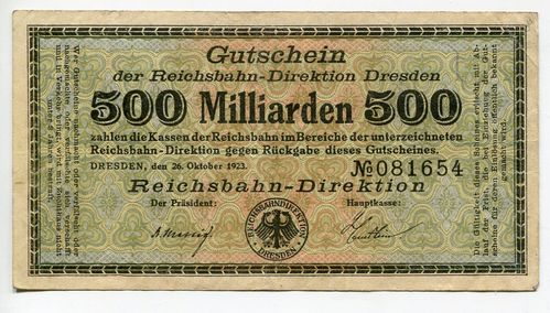 DRESDEN, Reichsbahndirektion: 500 Mia. Mark 26.10.1923